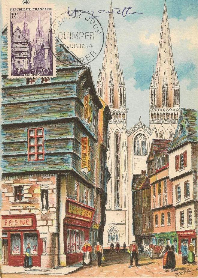 01 979 12 06 1954 quimper la rue kereon et la cathedrale st corentin 1