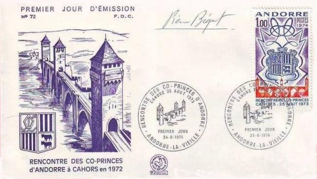 121b 24 08 1974 anniversaire de la rencontre des co princes d andorre a cahors ecus des vallees et pont de cahors