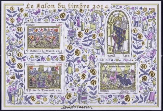 164 bloc dore planete timbres paris 2014