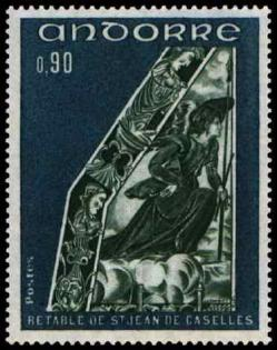 192g 223 16 09 1972 retable de la chapelle de saint jean de caselles bleu vert et vert fonce 1