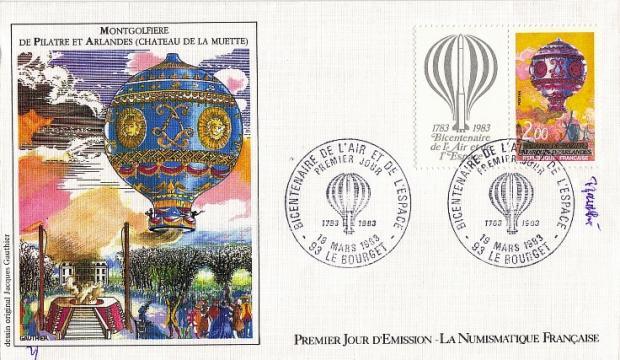 37 2261 19 03 1983 montgolfiere de pilatre et arlandes