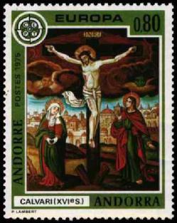 39 243 26 04 1975 europa fresques de l eglise de la cortinada le christ en croix xvie s 1
