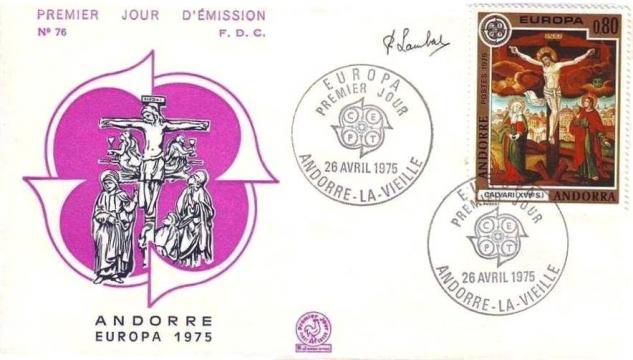 40 243 26 04 1975 europa fresques de l eglise de la cortinada le christ en croix xvie s