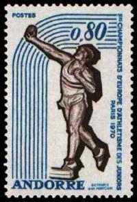 73 205 11 09 1970 premiers championnats d europe d athletisme des juniors lancement du poids 1