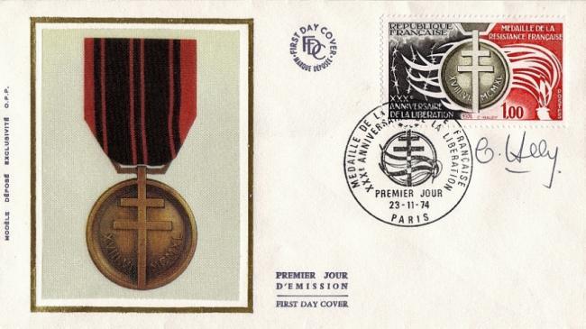 89 1821 23 11 1974 medaille de la resistance